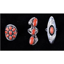 Navajo Sterling Silver & Ox Blood Coral Rings