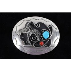 Navajo Silver End of The Trail Belt Buckle