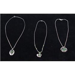 Navajo Jade & Silver Pendant Necklaces