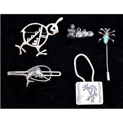 Navajo Sterling Silver Broaches, Tie & Key Clip
