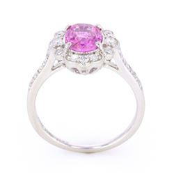 Purplish Pink Sapphire & VS1 Diamond PT950 Ring