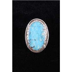 Hopi Stormy Mountain Turquoise Ring, Tawangyaouma