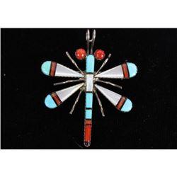 Navajo Silver & Multi Stone Dragonfly Pendant/Pin