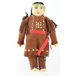 Pre 1940 Sioux Indian Deer Skin Beaded Childs Doll