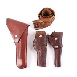 Collection of Genuine Leather Ammo Belt & Holsters