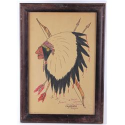 1932 Chief White Elk (Tenanana) Watercolor & Pen