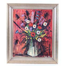 Original Pierre Mas Vase of Flowers Oil Painting