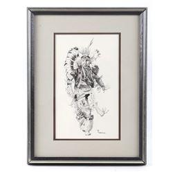 Original D Robertson Indian Dancer Pen & Ink Art