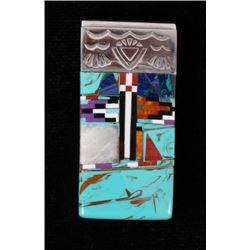 Zuni Multi Stone Mosaic & Silver Money Clip