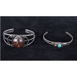 Navajo Old Pawn Silver Turquoise & Agate Bracelets