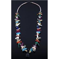 Navajo Carved Animal Multi Stone Effigy Necklace