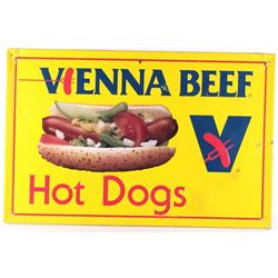 Vienna Beef Hot Dog Single Side Sign c. Mid 1900's