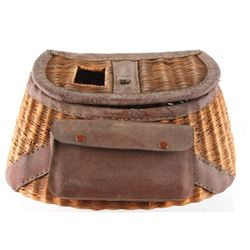 Montana Wicker Leather Wrapped Creel c Early 1900s