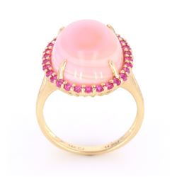 Pink Queen Conch Pearl & Pink Sapphire 14K Ring