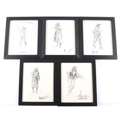 Charles Russell Framed Ink Sketch Collection