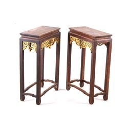 Antique Tibetan End Table Pair