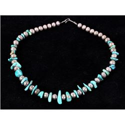 Navajo Turquoise & Sterling Silver Bead Necklace
