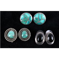 Navajo Silver & Turquoise & Onyx Earrings