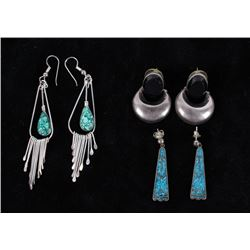 Native American Sterling & Onyx/Turquoise Earring