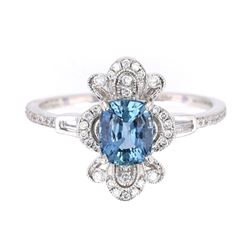 GIA Certified Blue Sapphire & Diamond PT950 Ring