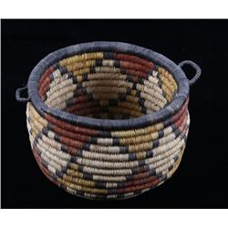 Hopi Hand Woven Colorful Coil Basket