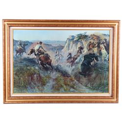 "C.M. Russell Framed Print, ""Wild Horse Hunters"""