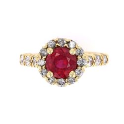 Blood Red Ruby and Diamond 14K Gold Ring