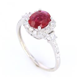 Beautiful Natural Ruby and Diamond 14K Ring