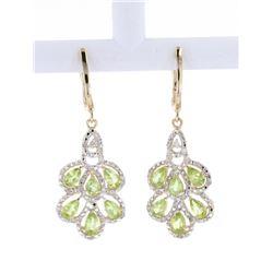 Peridot and Diamond Gold Silver Dangle Earrings