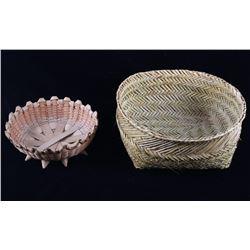 Papago Hand Woven Basket & Flour Sifting Basket