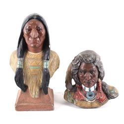 Porcelain Native American Theme Signed Bust Pair