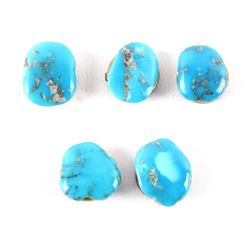 Set of Five Morenci Turquoise Button Covers