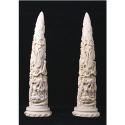 Faux Ivory Carved Decorative Tusks