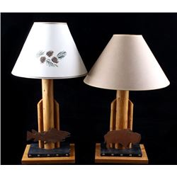 Thomas Molesworth Style Rustic Trout & Bison Lamps