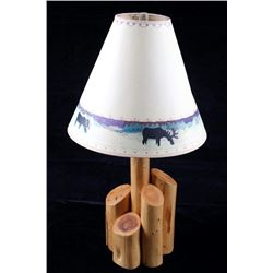 Montana Rustic Cedar Log Table Lamp W/ Moose Shade