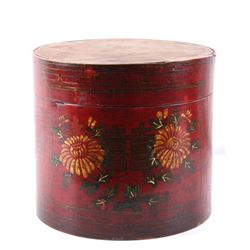 Chinese Wooden Cylindrical Hand Painted Box
