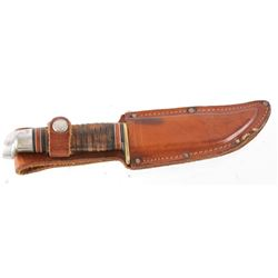 Western U.S.A. Leather Wrapped Hunting Knife