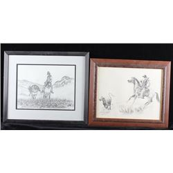 Framed Western Cowboy Sketch Collection