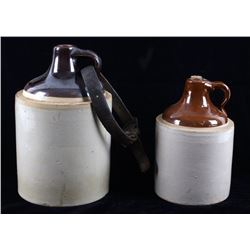 3 Gallon & 1 Gallon Stoneware Whiskey Jug Pair