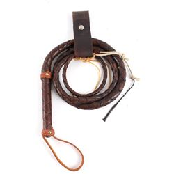 Montana Leather Woven Bull Whip & Belt Carrier