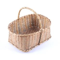 Mid 1900's Hand Woven Bamboo Carry Basket