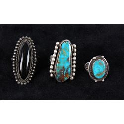 Navajo Silver & Turquoise & Onyx Rings