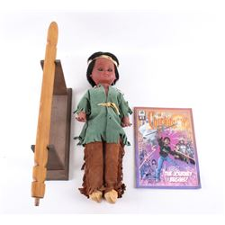 Native American Doll, Pipe Stem & Chickasaw Comic