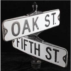 Oak St & Fifth St Sign Cast Iron Mounted Display