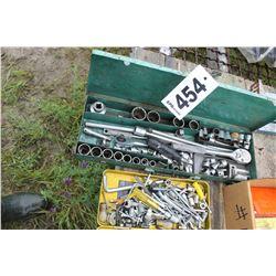 GREEN TOOLBOX C/W SOCKETS, RATCHET, ALLEN KEYS, ETC