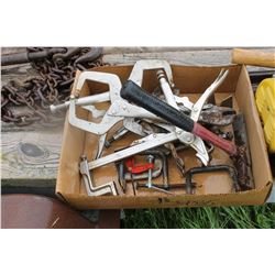 BOX WITH ASSORTED CLAMPS, HAMMER, ETC