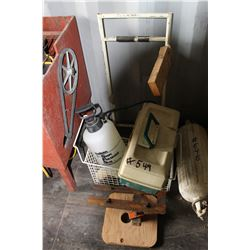 FISHING TACKLE BOX, SPRAYER, WIRE BASKET, ETC