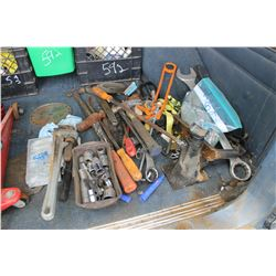 QUANTITY OF TOOLS, PIPE WRENCHES, ETC
