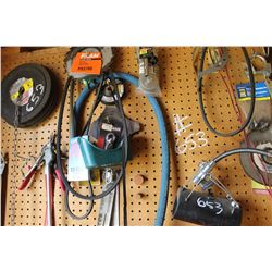 CONTENTS OF PEG BOARD INCLUDING GRINDING DISCS, BELTS, WD40, OILS, ETC
