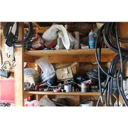 CONTENTS OF WOOD SHELF INCLUDING HOSE, HARDWARE, GREASE, FILTERS, 4 WAY WRENCHES, ETC